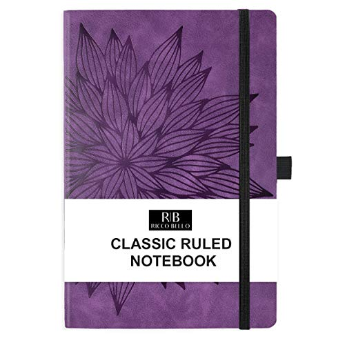 RICCO BELLO Classic College Ruled Hardcover Journal Notebook with Pen Holder, Vegan Leather Cover, Elastic Band Closure, 5.7 x 8.4 inches (Purple Bloom)