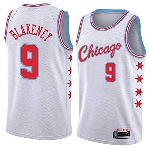Jerseys De Hombre, NBA Chicago Bulls # 9 Antonio Blakeney Basketball Cómodo/Luz, Absorbente De Sudor, Ventilador Jersey Ropa De Entrenamiento,Blanco,XXL(185~190cm)