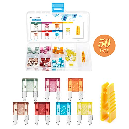 Chanzon 50pcs ATM/APM (Mini) Blade Fuse Assorted (2A 3A 5A 7.5A 10A 15A 20A) for Car Truck RV Automotive Motor Boat Replacement