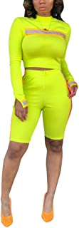Womens 2 Piece Stretchy Outfit Set Shirt Bodycon Short Pants CasualTracksuit Sportswear Set