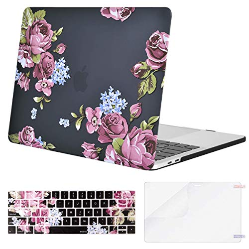MOSISO MacBook Pro 13 inch Case 2019 2018 2017 2016 Release A2159 A1989 A1706 A1708, Plastic Pattern Hard Shell & Keyboard Cover & Screen Protector Compatible with MacBook Pro 13, Purple Peony