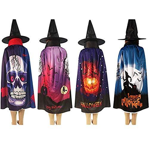 XDXDO 4 Stks Volwassen Halloween Mantel Kostuums Vrouwen Mannen Cosplay Lange Kaap Mantel Fancy Jurk voor Rol Spelen Schedel Bat Pompoen Patroon Mantel met Heks Hoed