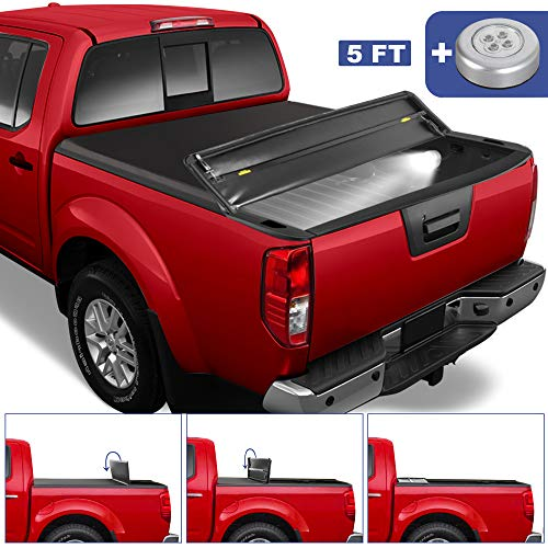 MOSTPLUS Tri Fold Soft Folding Truck Bed Tonneau Cover Compatible with 2005-2020 Nissan Frontier Fleetside/2009-2014 Suzuki Equator 5 FT On Top