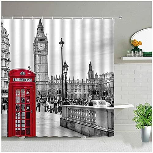 XXzhang Cortina de Ducha Clásica Londres Big Ben Cabina de teléfono roja Retro Baño Cortinas de Tela Impermeables para bañera Arte Decoración para el hogar-180x180cm