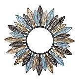 MTX-RM Ronda Espejos De Pared Hoja American Iron Sun Espejo Decorativo Simple Lacado De Mano Colgando del Espejo para El Dormitorio Salón Comedor Pasillo,B