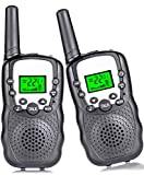 Kids Walkie Talkies 22 Channel, Walky Talky for Adult Kids 3 Miles Long Range Handheld Radio Kids Toy with Backlit LCD Flashlight Gifts for Boys Girls Outside Adventure 2 Way Radio 2 Pack,Black