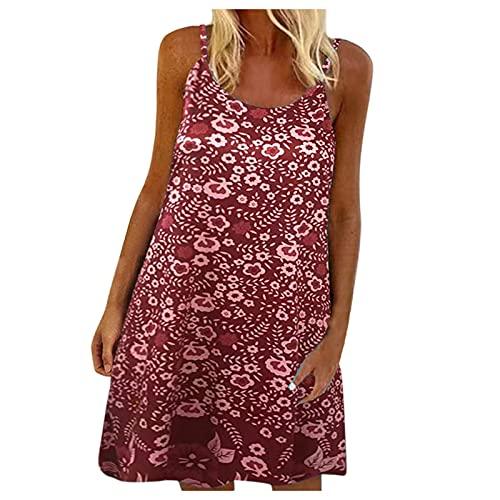 XWANG Vestido de verano para mujer, informal, sin mangas, cuello redondo, vestido de playa, estampado de flores, vestido corto, vestido hasta la rodilla, vestido de tiempo libre. 62-vino XXL