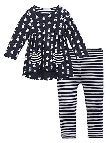 Arshiner Toddle Girls Kids Spring\&Autumn Long Sleeve Lovely Rabbits Stripes Printed 2 pcs Cotton Outfits Top\&Leggings Set,Navy Blue,110(Age for 4-5 years)