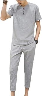 Men's 2 Piece Short Sets Linen Short Sleeve Pants Outfits Set Beach Sweatsuit with Drawstrings