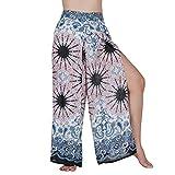 Lofbaz Slit Leg Palazzo Pantalones de Yoga para Mujeres niñas Maternidad Verano Playa Pijama de Cintura Alta Boho Harem Flor de Mandala Blanco M