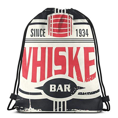 AOOEDM Whisky Bar Vintage Blechschild Kordelzug Rucksack Beam Pocket Sporttasche Student Rucksack Gym Sackpack zum Wandern Yoga Gym Schwimmen Reisen Strand Basketball Volleyball Tasche