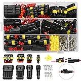 352 uds Kit de conector de cable eléctrico para coche, impermeable terminales conector, kit de conector de cable para motocicleta, coche, camión, barco, 1/2/3/4 pin, conectores de bujía para coche