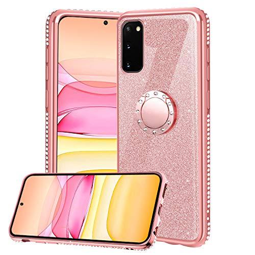 XTCASE Hülle für Samsung Galaxy S20 FE 5G/4G, Glitzer Bling Glänzend Strass Diamant Handyhülle mit 360 Grad Ring Ständer Superdünn Stoßfest TPU Silikon Tasche Schutzhülle - Rosé Gold