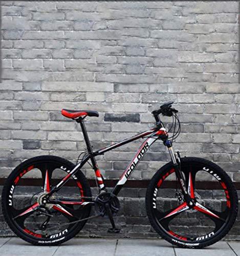 AISHFP 26 Pouces VTT, Double Disque de Frein Trek vélo, Cadre en Alliage d'aluminium/Roues, Plage Motoneige Vélo,Rouge,27 Speed