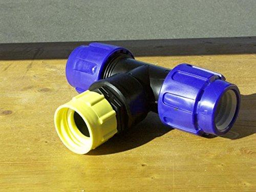 VOXTRADE Raccord en T pour tuyau de 25 mm pour réservoirs IBC pour connecter des réservoirs d'eau de pluie IBC (40 mm).