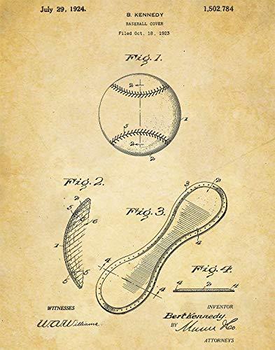 Baseball Patent Wall Art Print- one (11x14) Unframed - wall art decor for baseball fans
