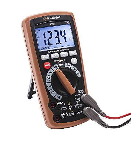 Southwire Tools & Equipment 12070T True RMS Auto-Ranging AC/DC Digital Multimeter, 10 Functions