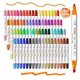Dual Tip Markers Artist Paint Marker for Adult Coloring Books, 72 Colors Fine&Broad Point Water Based Art Markers Highlighters, for Kids Halloween Card Making Drawing Bullet Journal School Supplies