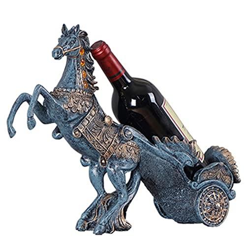 Estantería De Vinos Titular De La Botella De Vino De La Mesa De Vino Estatua De La Resina Hogar De La Cocina Cocina De Vino De Vino De Vino De Almacenamiento De Almacenamiento, Decoracione(Color:Azul)