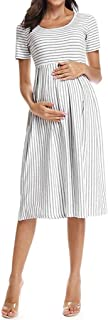 de Maternidad, Ropa Mujer Embarazada Vestidos de Premamá Mujer Midi Vestido de Lactancia Rayas Cuello Redondo Mangas Cortas Casual Verano
