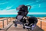 3 in 1 Kids Pram Pushchair Stroller Combi Stroller Buggy Baby Jogger Travel Buggy Kid's Stroller (Black Milo)