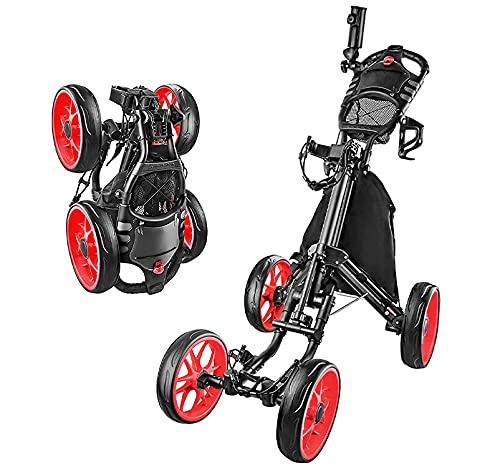 WWJL Carrito De Golf, Carrito De Golf Carrito De Cuatro Ruedas Plegable, Suministros De Golf, Carrito De Golf Plegable Y Deslizante con Un Solo Clic, Carritos De Golf Push-Pull