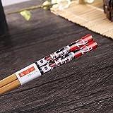 5 Paar Set Essstäbchen Japanische Natur Chopsticks aus umweltfreundlichem Bambus-Holz in edler Schatulle Geschenkbox(Cat) - 3
