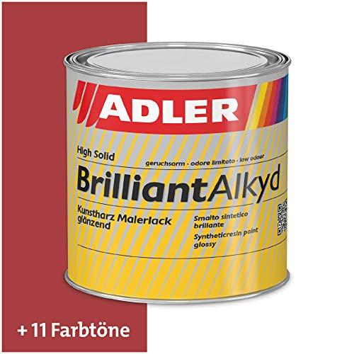 ADLER Brilliantalkyd - RAL3000 Feuerrot 125 ml - Premium Kunstharzlack glänzend, Decklack für innen und außen mit guter Wetter- und Vergilbungsbeständigkeit, Glanzlack in Bootslack Qualität