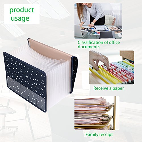Expanding File Folder Document Organizer/File Organizer A4 Accordion Expandable Filing Folders with Cover 13 Pockets Expander Storage for Office/Business/School/Family Bill Paperwork Photo #4