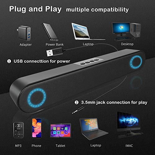 LENRUE Computer Speaker, PC Wired Desktop Sound Bar with LED Lights, Stereo Sound USB Powered for Desktop, Laptop, Mac, iMac, Tablets and More (Black)
