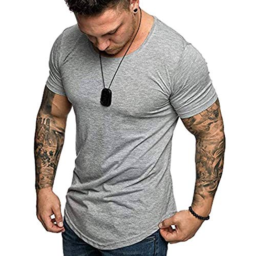 Shirt for Men, F_Gotal Men's T-Shirts Fashion Summer Short Sleeve Basic Solid Slim Fit Muscle Tee Shirts Blouse Tops Gray