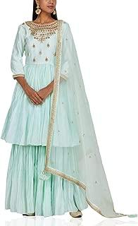 Pinkkart Sky Blue Indian Handmade Collection Ethnic Full Sleeve Lace Work Anarkali Suit Garara Bottom Bespoke Gota Patti Work 108okh …