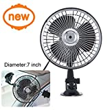 Ungfu Mall 7 Inch Car Fan Vehicle Fan Adjustment Suction Cup Car Auto