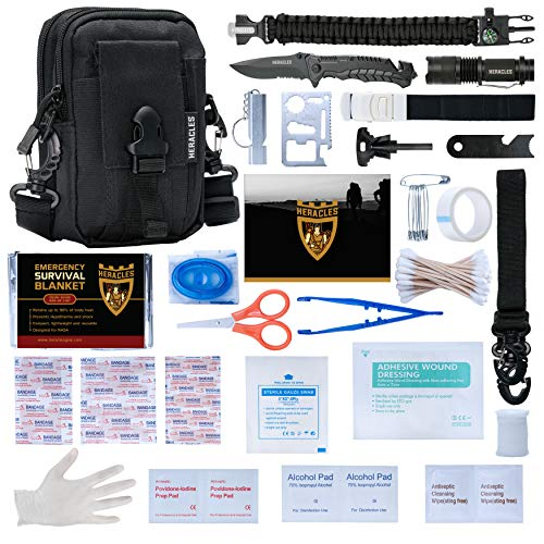 HERACLES 110 in 1 Emergency Survival Kit, First Aid Kit, Survival Gear, Survival Kit, Emergency Kit, Tactical Gear, Zombie Survival Kit, MOLLE Gear, EDC Gear, Earthquake Survival Kit (Black-2)