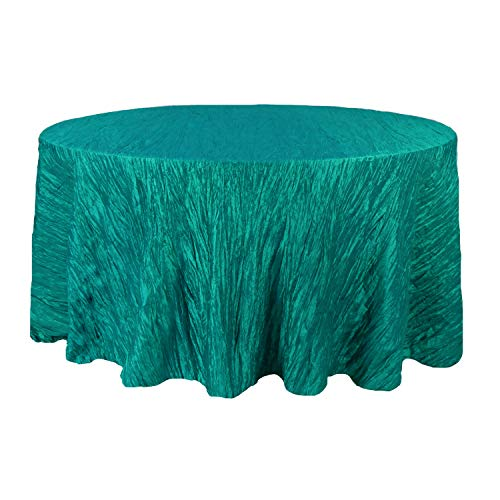 Your Chair Covers - 120 Inch Round Crinkle Taffeta Tablecloth Teal, Round Table Linens for 5 ft Round Banquet Tables