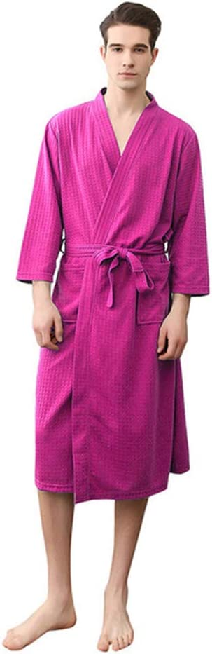 FOREVER PENGUIN Men Woman Cotton Bathrobes Autumn Kimono Long Sleeve Nightgowns,Pink,XL