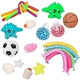 Set de juguetes sensoriales | Paquete de 22 juguetes para aliviar el estrés, para niños y adultos, materiales de PVC para la protección del medio ambiente, juguetes sensoriales que incluyen fideos