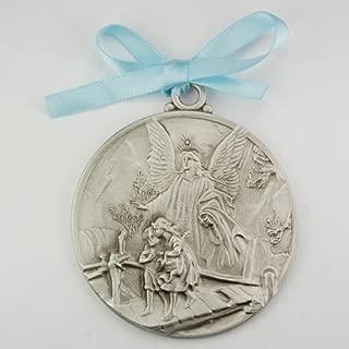 Guardian Angel Crib Medal Blue Ribbon Round 2 3/4 Great Gift great baptism christening gift keepsake gift