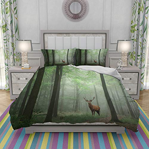 REIOIYE Duvet Cover Set-Bedding,Red Deer Stag In Lush Green Fairytale Growth Concept Foggy Forest Landscape Image,Quilt Cover Bedlinen-Microfibre 200x200cm with 2 Pillowcase 50x80cm