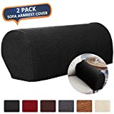 CAVEEN Armrest Cover Stretch Fabric Armrest Covers Anti-Slip Furniture Protector Armchair Slipcovers for Recliner Sofa Spandex Jacquard Couch Armrest Protector Set of 2 Black Plaid Pattern
