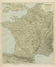 France Physical. Mountains & Rivers. Large 66x55cm. Stanford - 1904 - Old map - Antique map - Vintage map - Printed maps of France