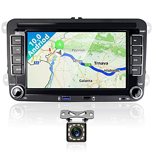 Podofo Autoradio Bluetooth Android 10.0 Stereo Auto 2 Din Con 7 pollici Schermo Radio Auto Vivavoce Microfono Integrato Con Navigatore USB Wifi BT GPS FM