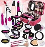 STAY GENT Maquillaje Niñas Set para Chicas, Fake Maquillaje Kit con para Cosmético Bolsa para Niño Papel Toca, Chica Juguetes Regalo para Cumpleaños, Navidad, Rojo Rosado