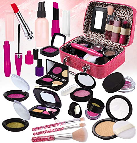STAY GENT Fake Pretender Maquillaje Niñas Set para Chicas, Fake Maquillaje Kit con para Cosmético Bolsa para Niño Papel Toca, Chica Juguetes Regalo para Cumpleaños, Navidad (No Real Maquillaje)