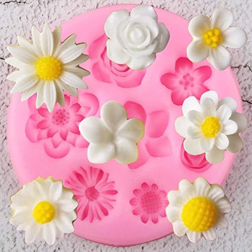 YCHH Flor Moldes de Silicona DIY Rose Daisy Peony Cupcake Topper Fondant Pastel Decoración Herramientas Candy Clay Chocolate Gumpaste Molde