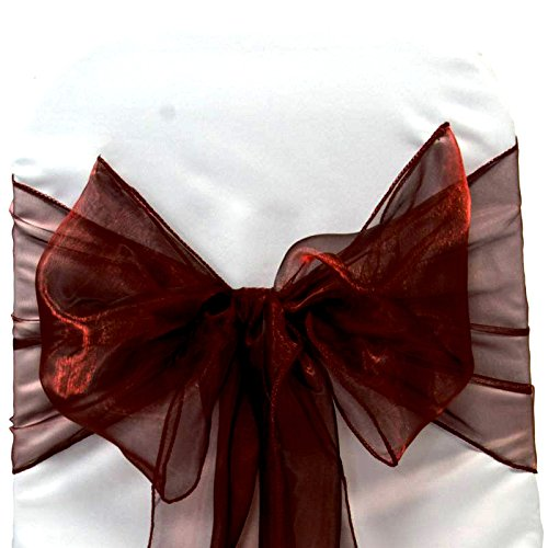 Mds 100 Pieces Burgandy Organza Organza chair sashes bow Sash for wedding and Events Supplies Party Decoration chair cover sash