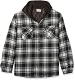 Wrangler Authentics Men's Long Sleeve Quilted Lined Flannel Shirt Jacket with Hood, Caviar With Black, Small
