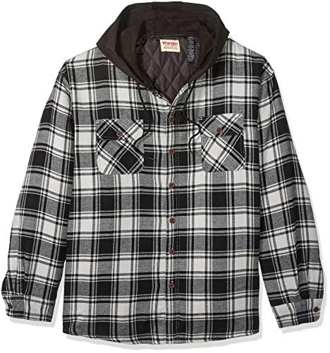 Wrangler Authentics Men's Long Sleeve Quilted Lined Flannel Shirt Jacket with Hood, Caviar With Black, X-Large