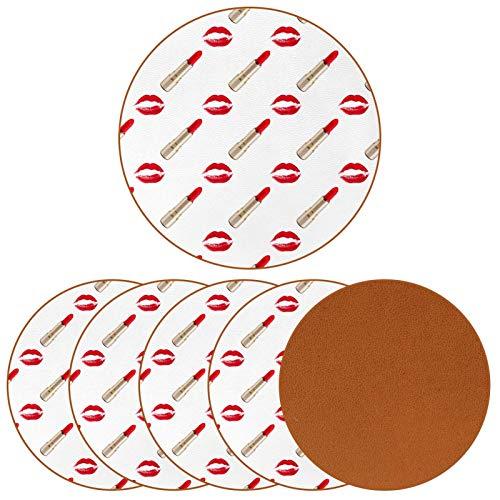 Posavasos para bebidas sexy dorado lápiz labial de piel con impresión redonda para proteger muebles, resistente al calor, decoración de bar de cocina, juego de 6