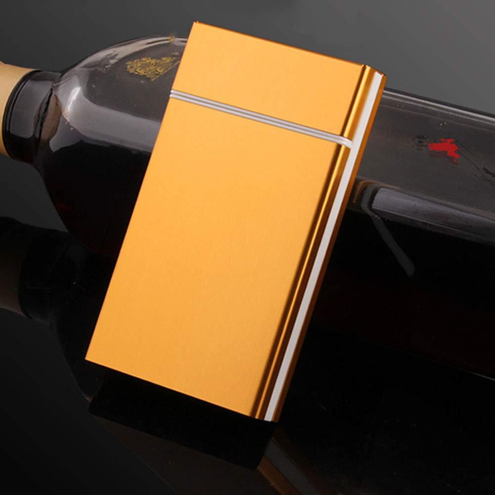 BDWY Ultra-Delgado portátil de la Caja de Cigarrillo de Metal de Cigarrillos Caja,Oro,61x108x17mm: Amazon.es: Hogar